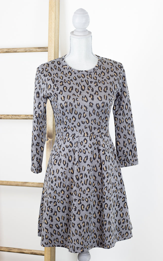 Leopard Print Charcoal Grey Dress with Pockets