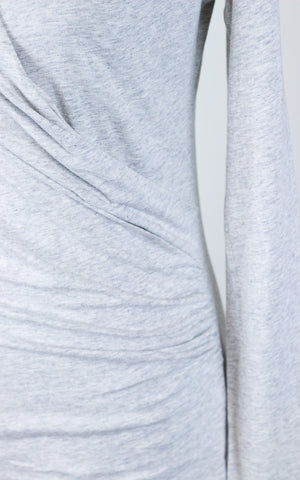 Long Sleeve Wrap Top with Ruching Light Grey Women's