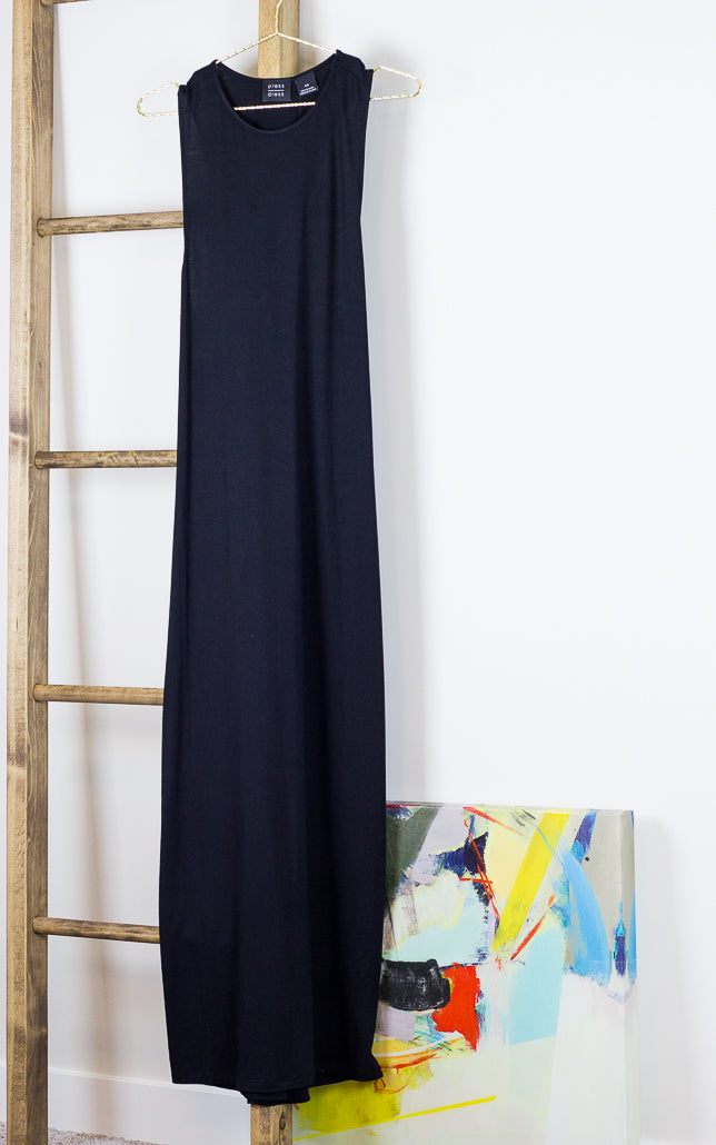 Crossover Back Maxi Dress Black