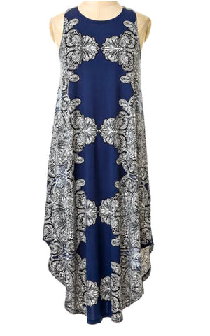 Navy Border Maxi Dress