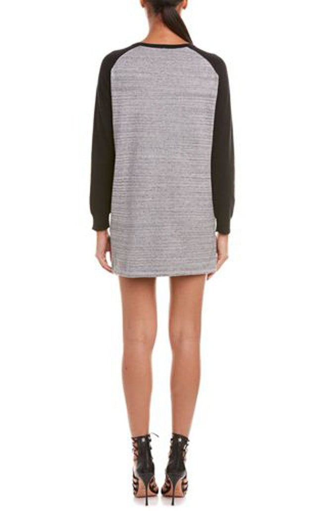 Anna Space Dye Knit Tunic Baseball Sweater Dress