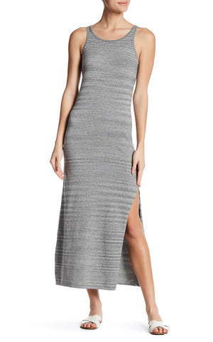 Knit Space Dye Racerback Maxi Dress with Side Slit