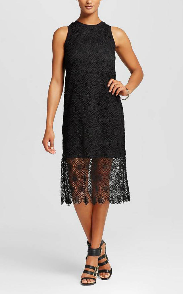 Elegant Crochet Midi Lace Dress with Lining Black