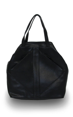 Vegan Leather Diamond Zip Satchel Black