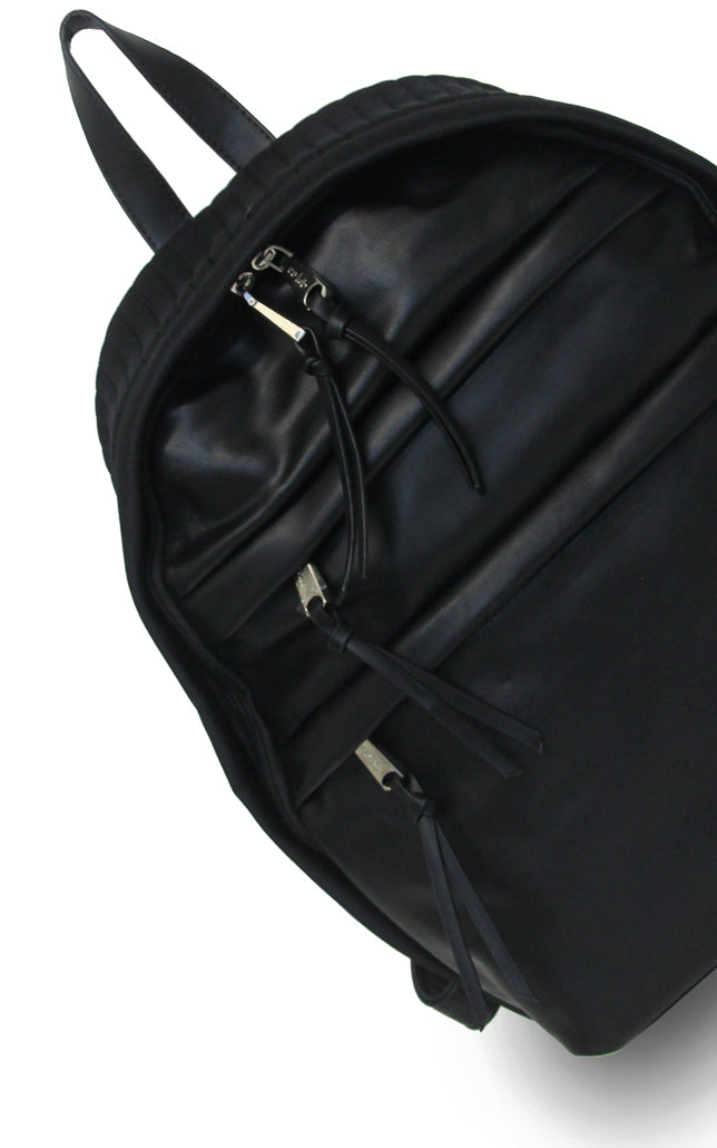 Vegan Leather/Neoprene Moto Backpack Black