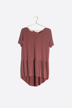 Pink Liberty Just Jordan Peplum Short Sleeve Top Burgundy