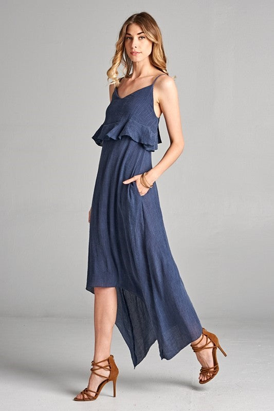 Pink Liberty Navy Crinkle Ruffle Maxi Dress with Side Pockets