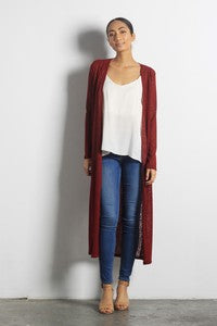 Pink Liberty Kiki Long Open Duster Cardigan Burgundy