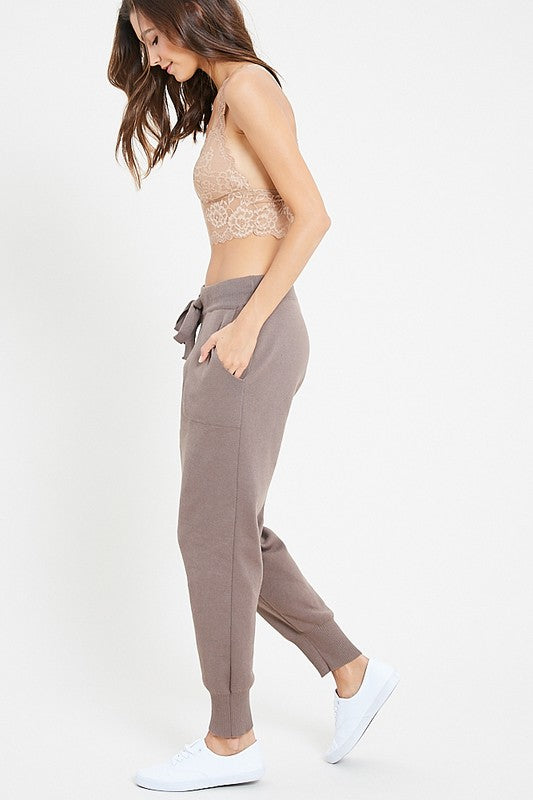 Soft Knit Jogger Pants with Drawstring Waist and Pockets