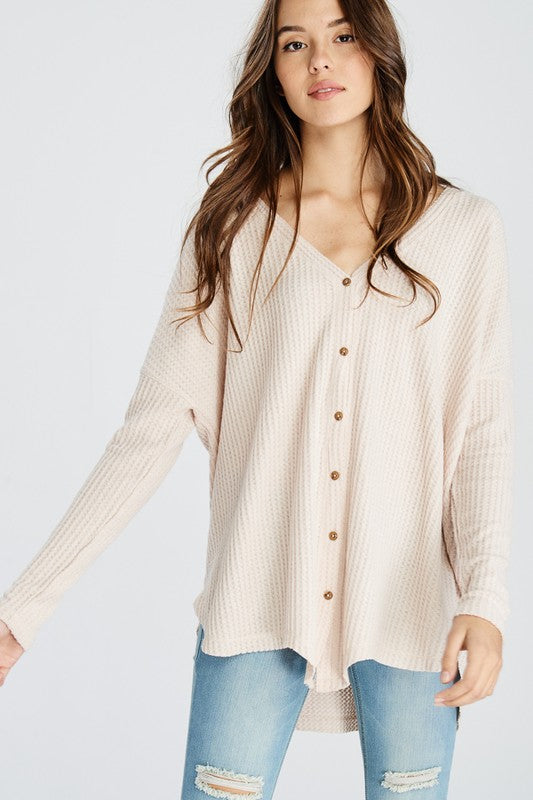 Long Sleeve Thermal Waffle Knit Knotted Button Down Sweater - Pink ... 30f21af2f