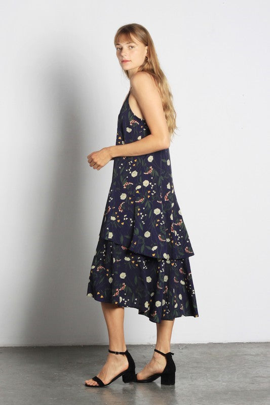 Pink Liberty Absolutely Arden Tiered Floral Midi Dress Navy