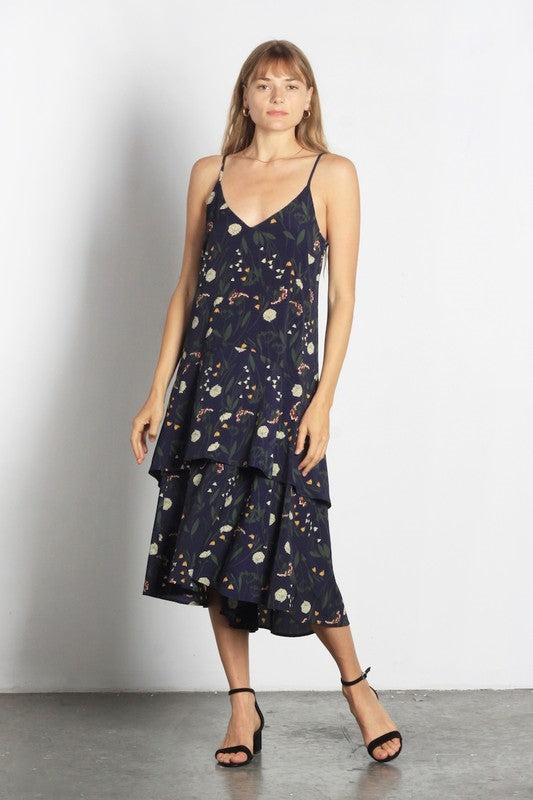 Absolutely Arden Tiered Floral Midi Dress