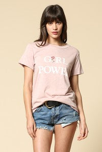 Girl Power T-Shirt with Rose Graphic