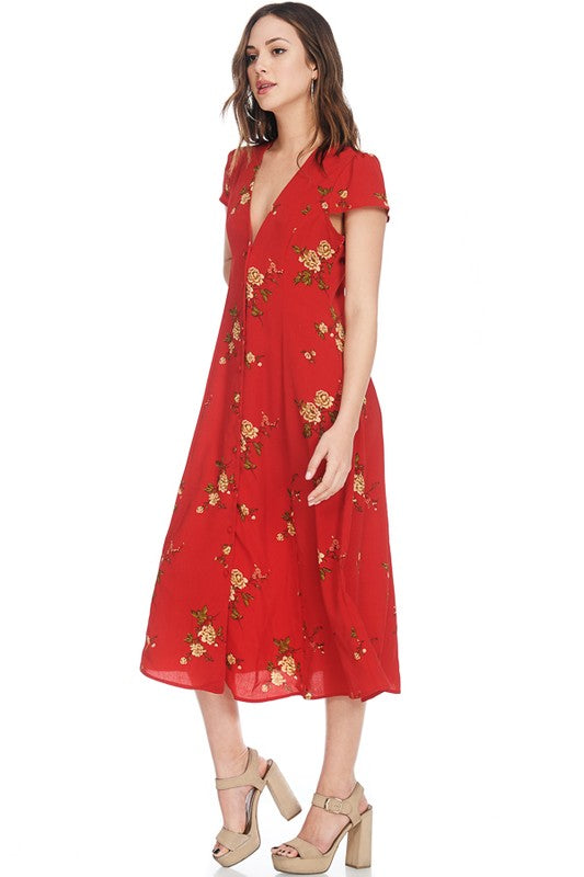 Pink Liberty red floral button front short sleeve maxi dress