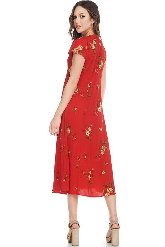 Red Floral Button Front Maxi Dress