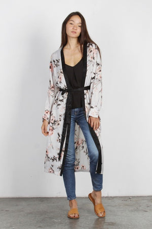 Pink Liberty Rosie In Bloom Long Floral Satin Belted Kimono Cardigan