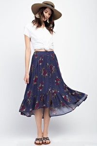 Pink Liberty Prairie Floral Flowy Button Down Midi Skirt