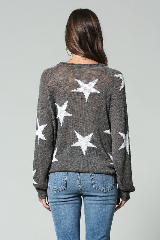 Blank Paige Patricia Lightweight Slub Knit Star Print V-neck Sweater