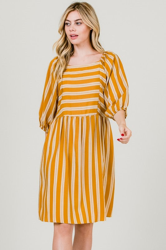 Lovely Lola Stripe Mustard Midi Babydoll Dress