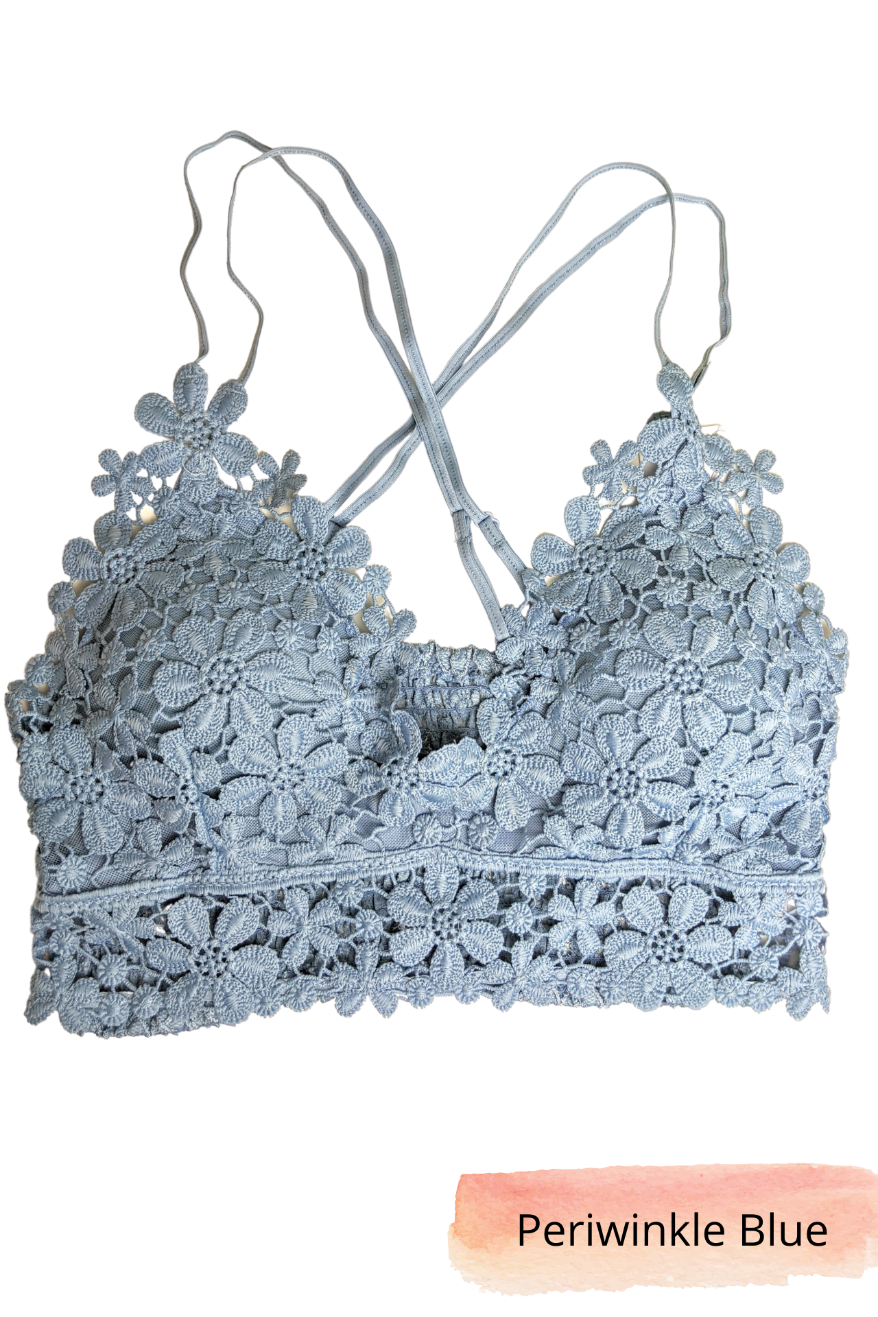 Pink Liberty Forever Daisy Floral Lace Crochet Bralette Periwinkle Blue