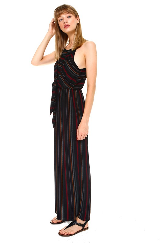 Pink Liberty elegant striped tie-front jumpsuit