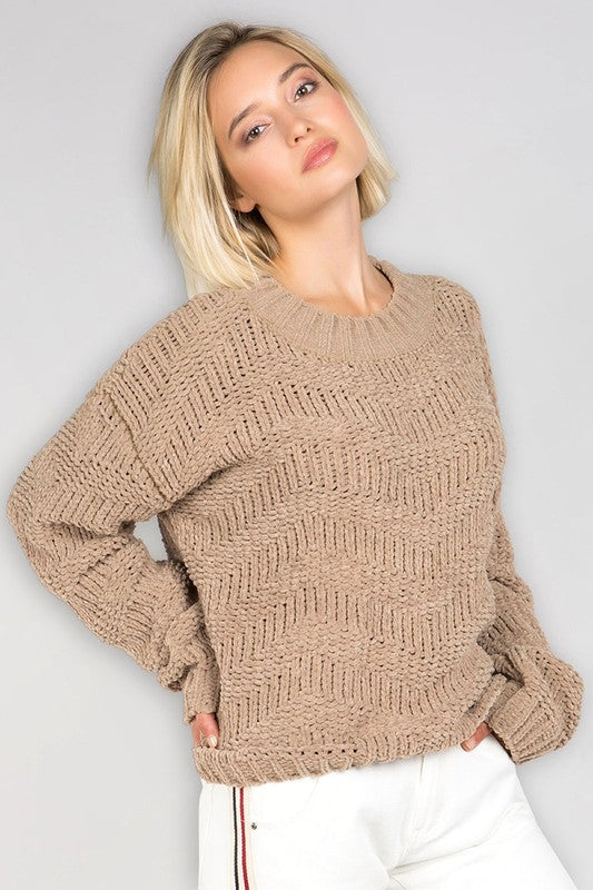 Chic Chevron Chenille Knit Sweater