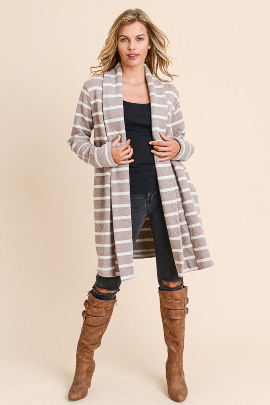 So Sweet Striped Coatigan Jacket with Pockets