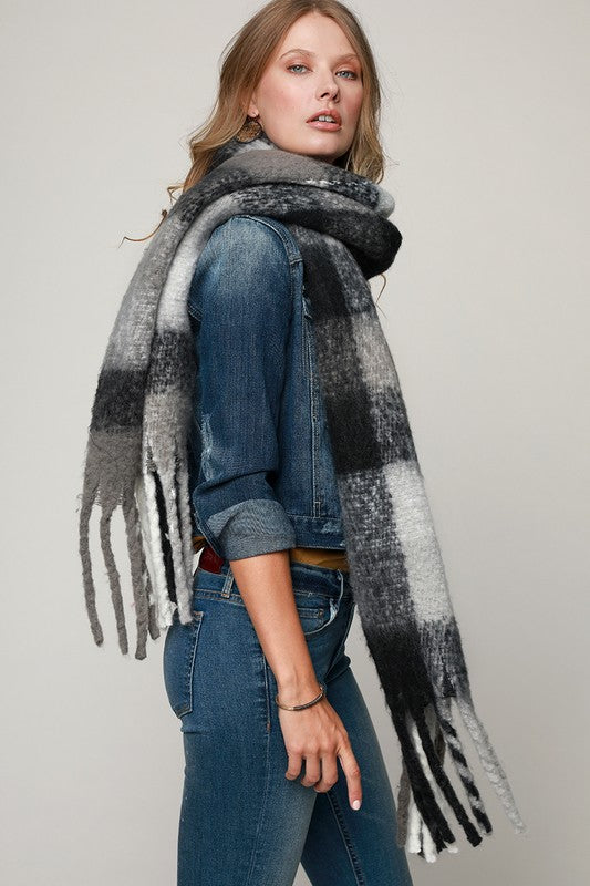 Pink Liberty On the Fringe Plaid Oblong Scarf Black White Grey