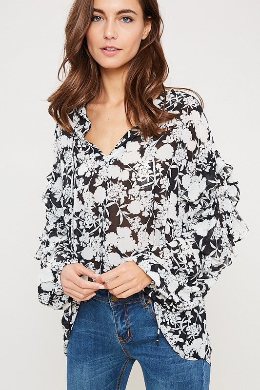 Fiona Floral Print Ruffled Blouse