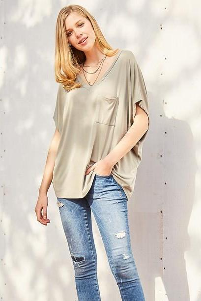 Pink Liberty Ellie Solid V-Neck Modal Short Sleeve Top Olive