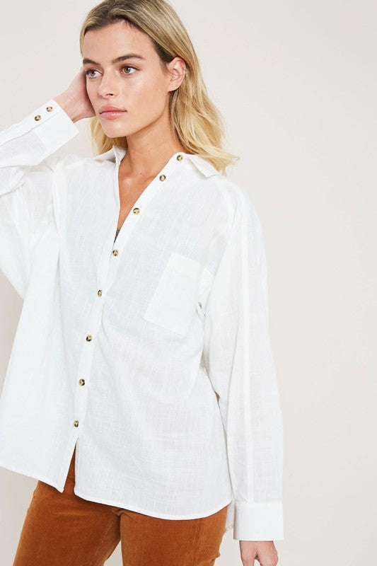 Pink Liberty Ophelia Oversized White Linen Button Down Blouse