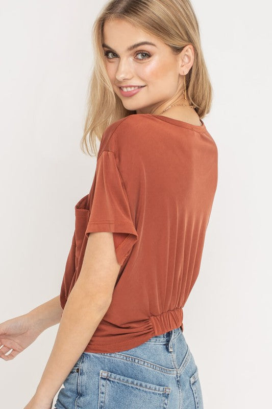 Kaylee Knotted Short Sleeve T-Shirt with Pocket