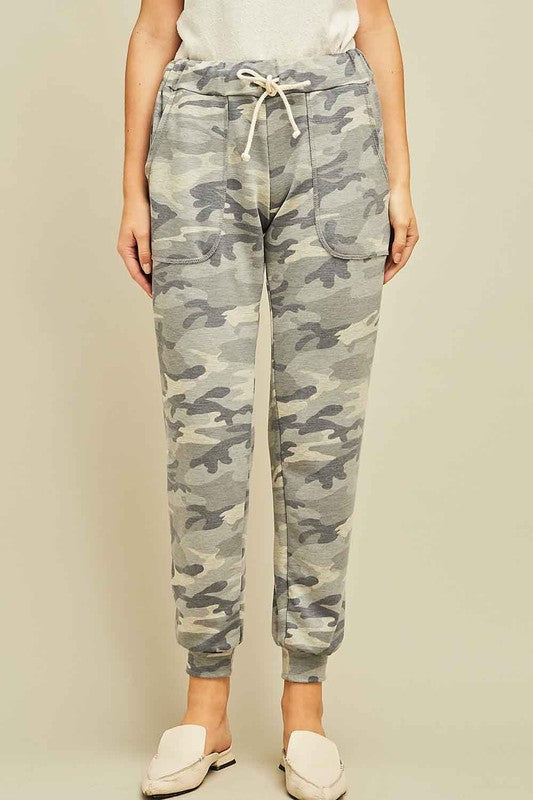 Pink Liberty Lightweight Camo Jogger Pants with Drawstring Waist Grey