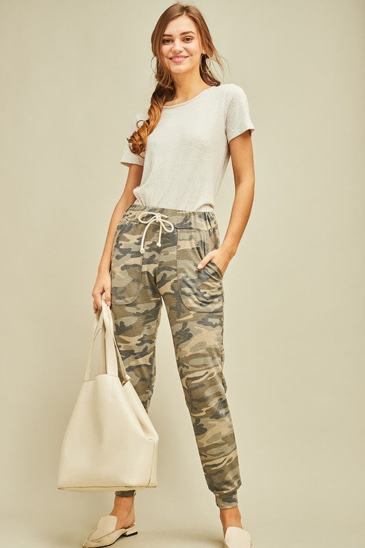 Pink Liberty Lightweight Camo Jogger Pants with Drawstring Waist Olive