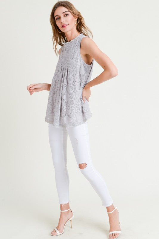 Amelia Front Seam Lace Detail Sleeveless Top Grey