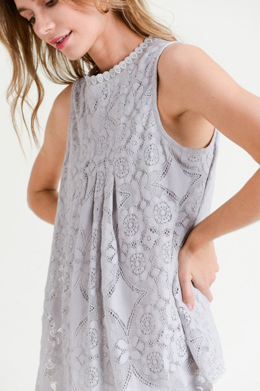 Pink Liberty Amelia Front Seam Lace Detail Sleeveless Top Grey