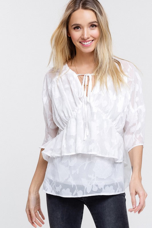 Pink Chloe Layered Babydoll Mid-Sleeve Blouse White
