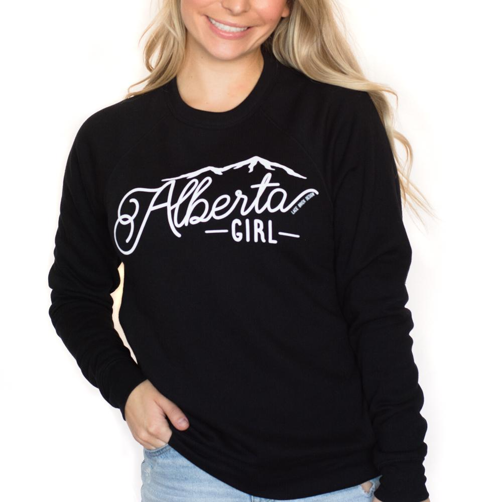 Pink Liberty Alberta Girl Crew Sweatshirt Lace Brick Design Black