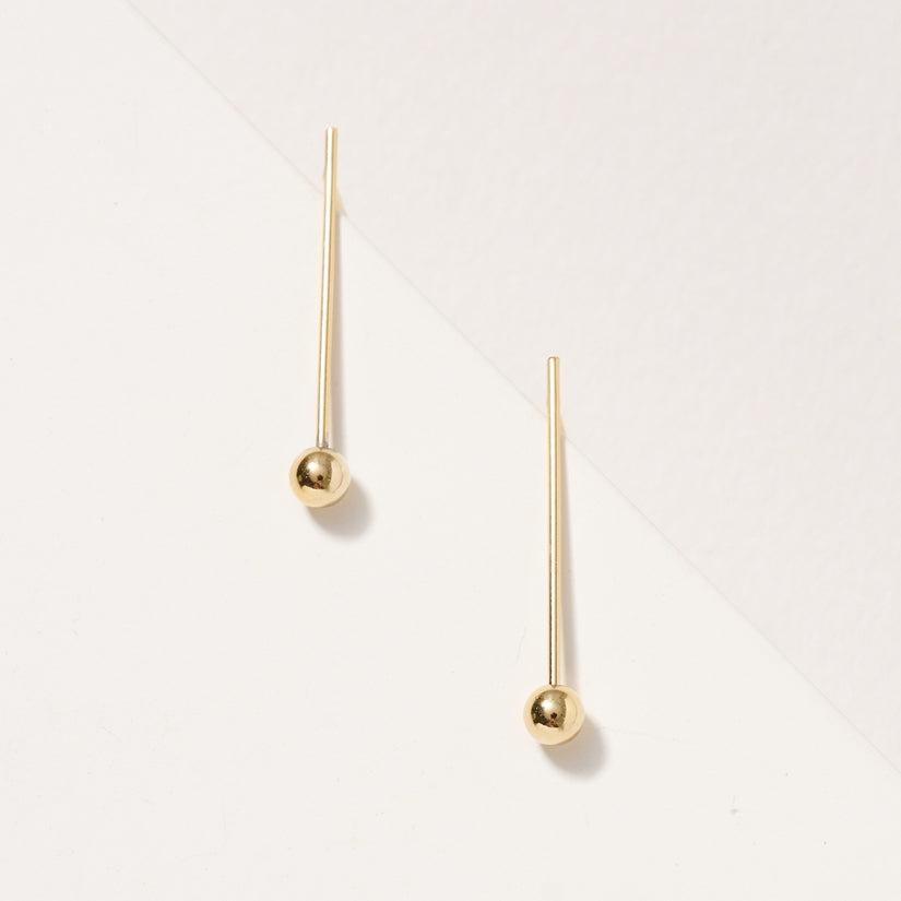 Pink Liberty Yours Forever Bar Bead 14K Gold Dip Stud Earrings Gold