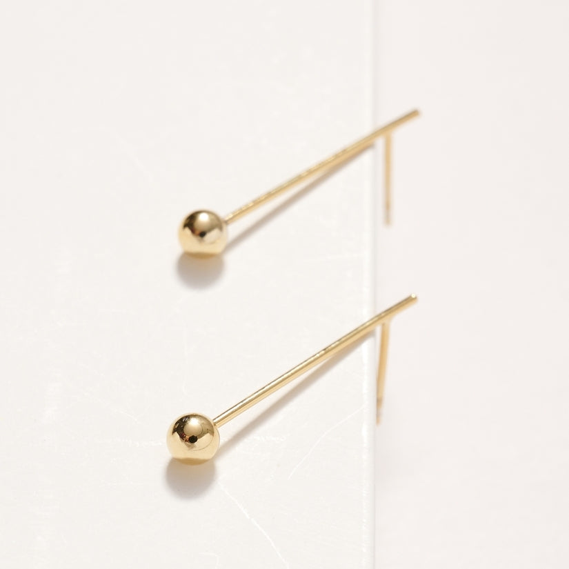 Yours Forever Bar Bead 14K Gold Dip Stud Earrings Gold