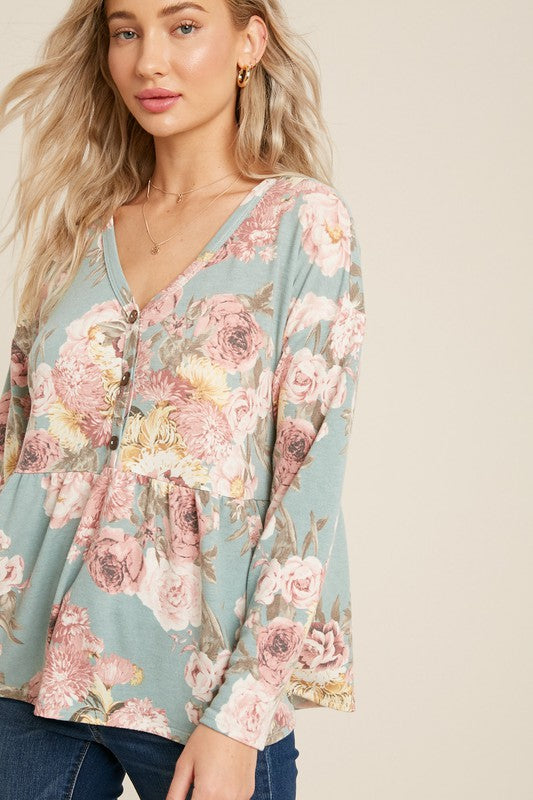 Sweeter Here Button Front Floral Babydoll Top