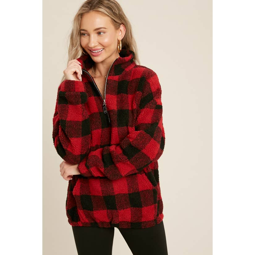 Pink Liberty Cozy Days Buffalo Plaid Sherpa Zip-Up Pullover Red Black