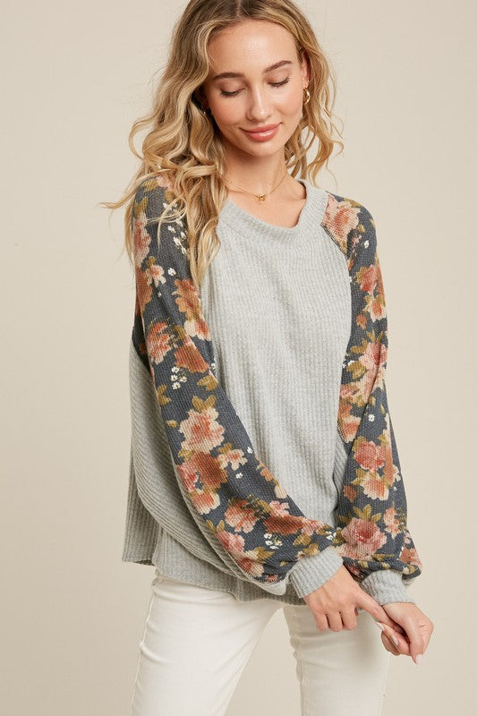 Madly Deeply Floral Contrast Brushed Waffle Knit Top