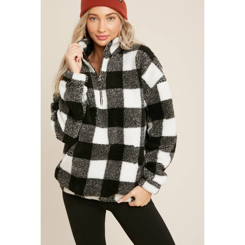 Cozy Days Buffalo Plaid Sherpa Zip-Up Pullover