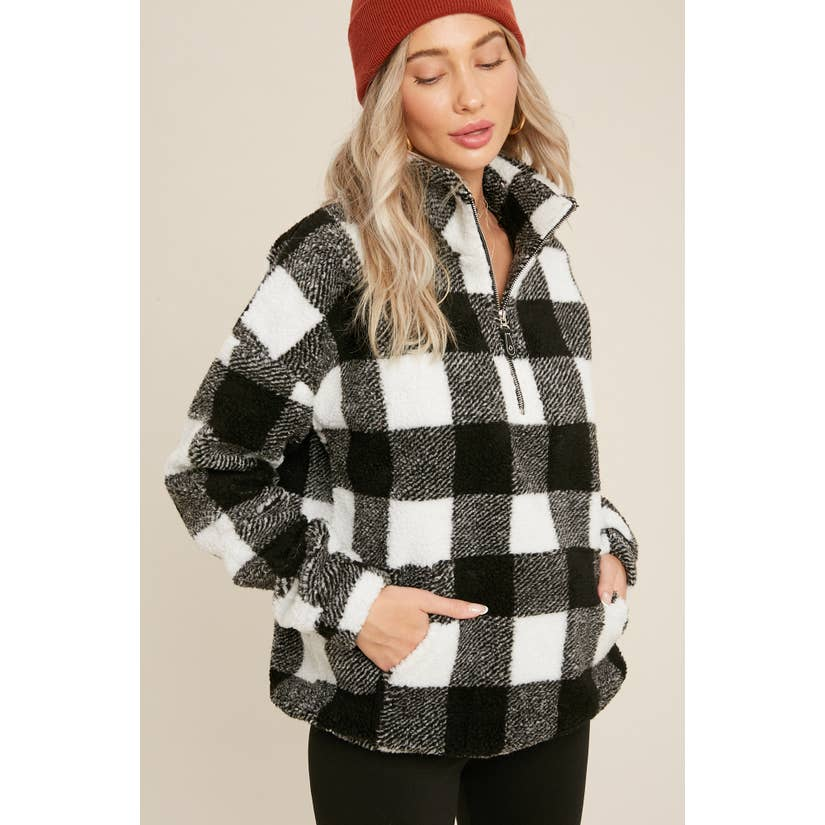 Cozy Days Buffalo Plaid Sherpa Zip-Up Pullover Black White