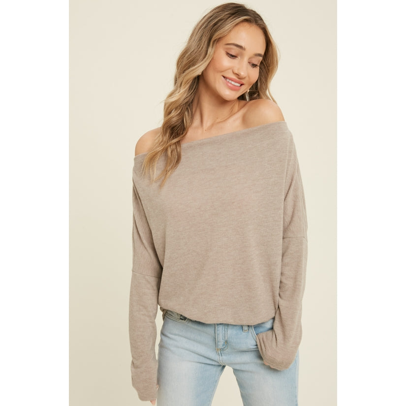 Pink Liberty Rhapsody Brushed Hacci Off-Shoulder Long Sleeve Top Oatmeal