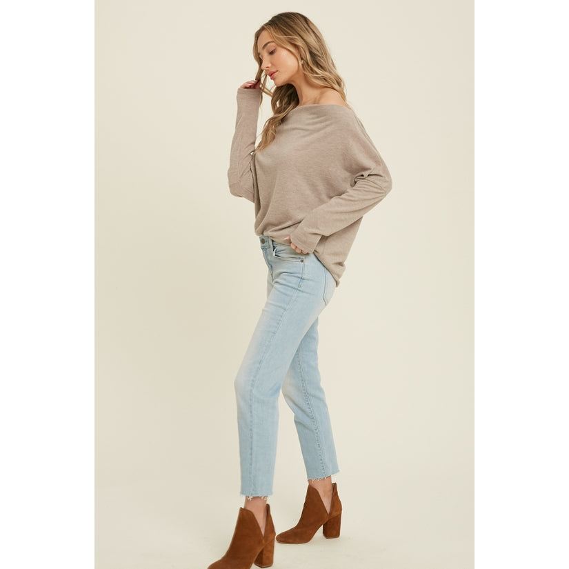 Rhapsody Brushed Hacci Knit Off Shoulder Top