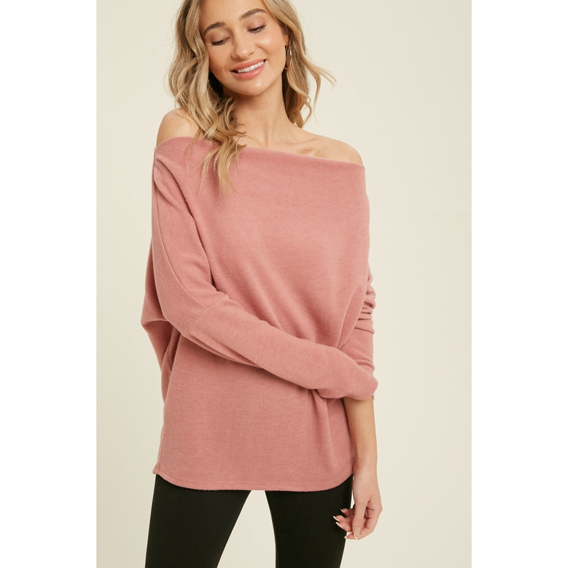 Pink Liberty Rhapsody Brushed Hacci Off-Shoulder Long Sleeve Top Rose