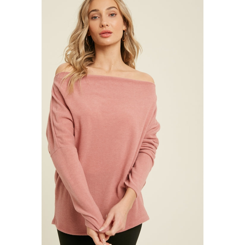 Rhapsody Brushed Hacci Knit Off Shoulder Top Rose