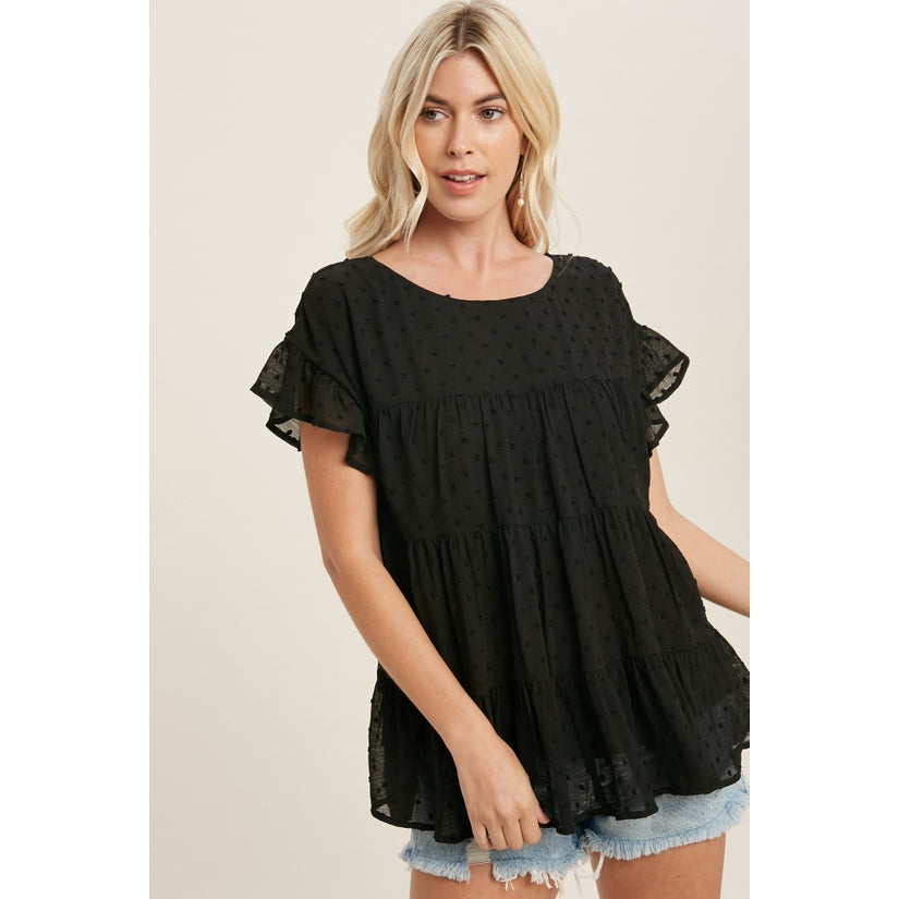 Charmed Life Swiss Dot Ruffle Sleeve Tiered Blouse Black